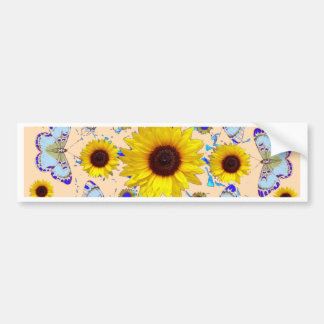 WHITE-PURPLE BUTTERFLIES & YELLOW SUNFLOWERS CREAM BUMPER STICKER