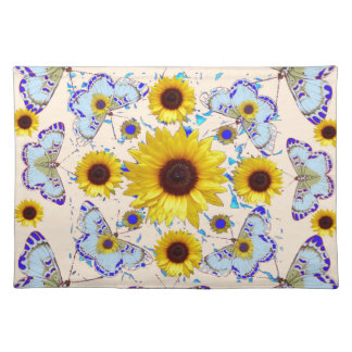 WHITE-PURPLE BUTTERFLIES & YELLOW SUNFLOWERS CREAM PLACEMAT