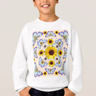 WHITE-PURPLE BUTTERFLIES & YELLOW SUNFLOWERS CREAM SWEATSHIRT