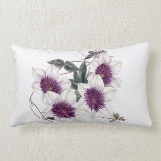 White Purple Center Clematis Indoor Lumbar Pillow