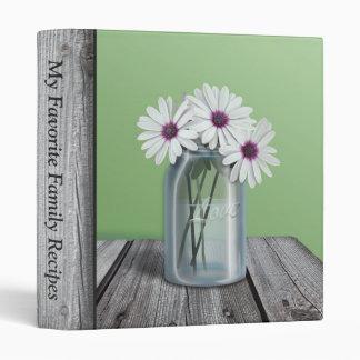 White & Purple Daisy Mason Jar Rustic Green Binder