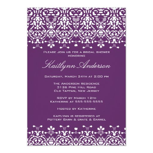 White & Purple Damask Bridal Shower Invitation