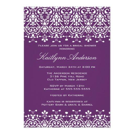 White & Purple Damask Bridal Shower Invitation