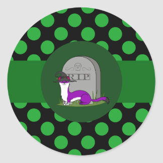 White & Purple Ermine - Grave Stone & Green Dots Round Sticker