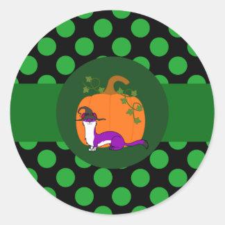White & Purple Ermine with Pumpkin & Green Dots Round Sticker