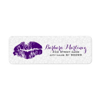 White & Purple Floral Damasks Makeup Artist Design
