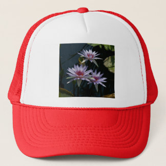 White Purple Lotus Waterlilies Hat