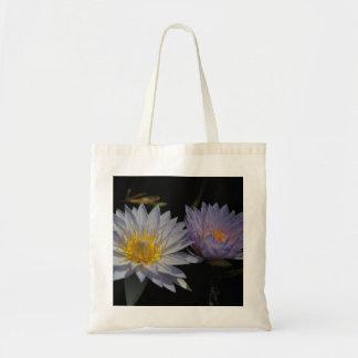 White & Purple Lotus Waterlilies tote bag