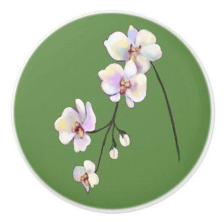 White, purple, & pink orchid spray green knob ceramic knob