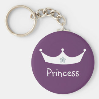 White & purple Princess crown key chain