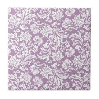 White & Purple Vintage Floral Damasks 2 Tile