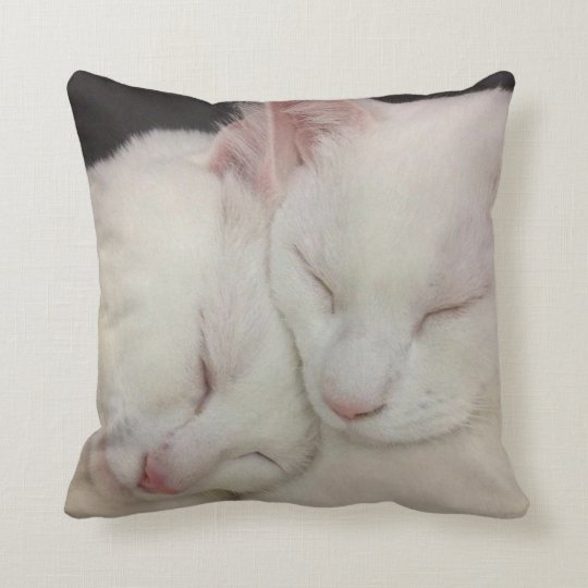 White Pussy Cat Pillow
