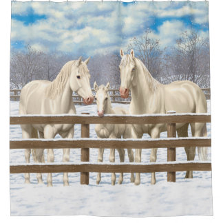 White Quarter Horses In Snow