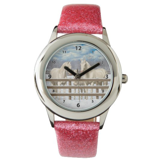 White Quarter Horses In Snow Wrist Watch