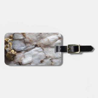White Quartz with Gold Veining Luggage Tag