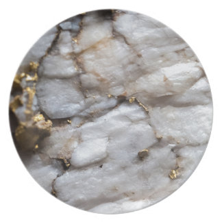 White Quartz with Gold Veining Plate