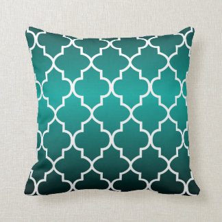 White Quatrefoil Pattern on a Rich Teal Gradient Throw Pillow