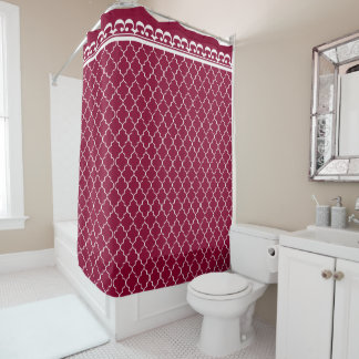 White Quatrefoil Pattern on Cranberry Red
