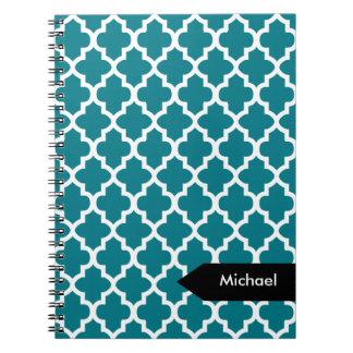 White Quatrefoil Seamless Pattern Spiral Note Book