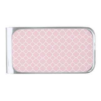 White Quatrefoil with Baby Pink Background Silver Finish Money Clip