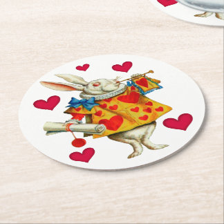 White Rabbit 1 Round Paper Coaster