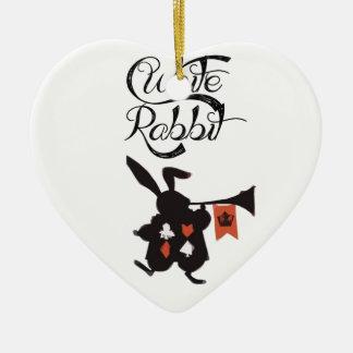 White Rabbit, Alice In Wonderland Ceramic Heart Ornament