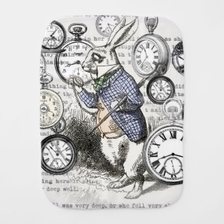 White Rabbit Alice in Wonderland Time Burp Cloth