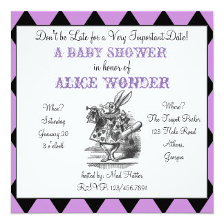 White Rabbit Alice Invitation