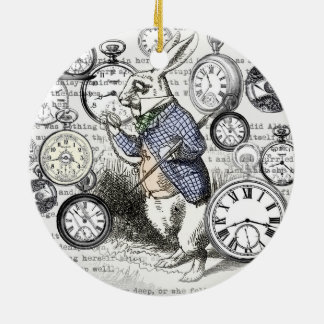 White Rabbit Alice Time Ceramic Ornament