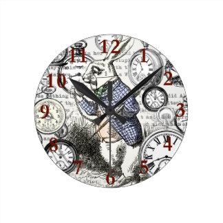 White Rabbit Alice Time Wallclock