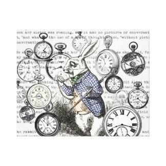 White Rabbit Alice Wonderland Clock Canvas Print