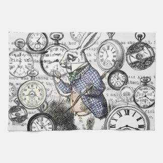 White Rabbit Alice Wonderland Clock Kitchen Towel