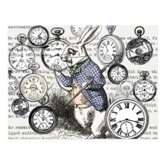 White Rabbit Alice Wonderland Clock Postcard