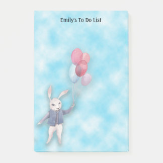 White Rabbit and Balloons in Blue Sky To Do List Post-it Notes