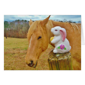 White rabbit and blond yellow horse card