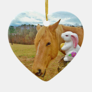 White rabbit and blond yellow horse ceramic heart ornament