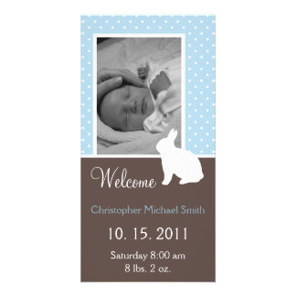 White Rabbit Baby Boy Birth Announcement Card