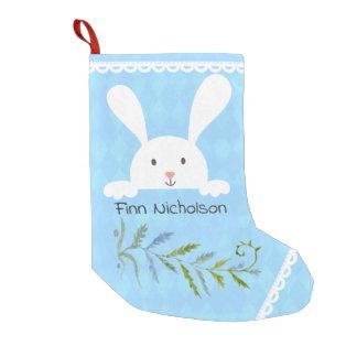 White Rabbit Blue Diamond Shape Small Christmas Stocking