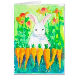 White Rabbit Carrots Happy Easter Card