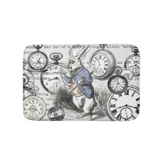 White Rabbit Clocks Alice in Wonderland Bath Mat