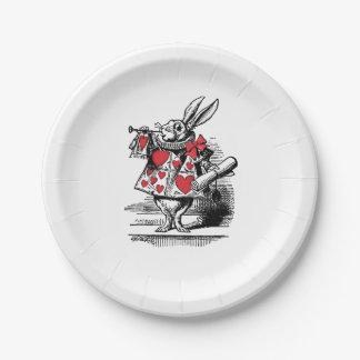 White Rabbit Court Trumpeter Alice in Wonderland 7 Inch Paper Plate