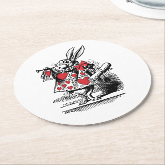 White Rabbit Court Trumpeter Alice in Wonderland Round Paper Coaster