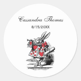 White Rabbit Court Trumpeter Alice in Wonderland Round Sticker