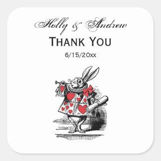 White Rabbit Court Trumpeter Alice in Wonderland Square Sticker