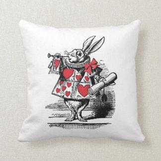 White Rabbit Court Trumpeter Alice in Wonderland Throw Pillow