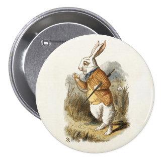 White Rabbit from Alice In Wonderland Vintage Art 3 Inch Round Button