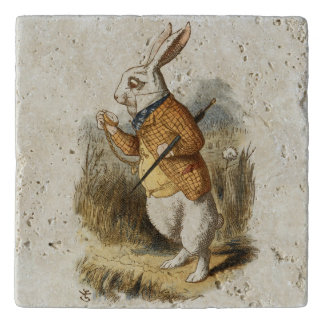 White Rabbit from Alice In Wonderland Vintage Art Trivet