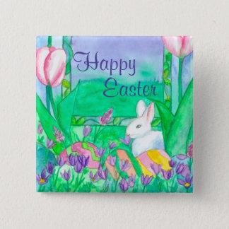 White Rabbit Happy Easter 2 Inch Square Button