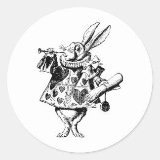 White Rabbit Herald Inked Black Classic Round Sticker
