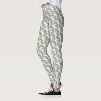 White Rabbit Leggings Pale Green Berries Christmas